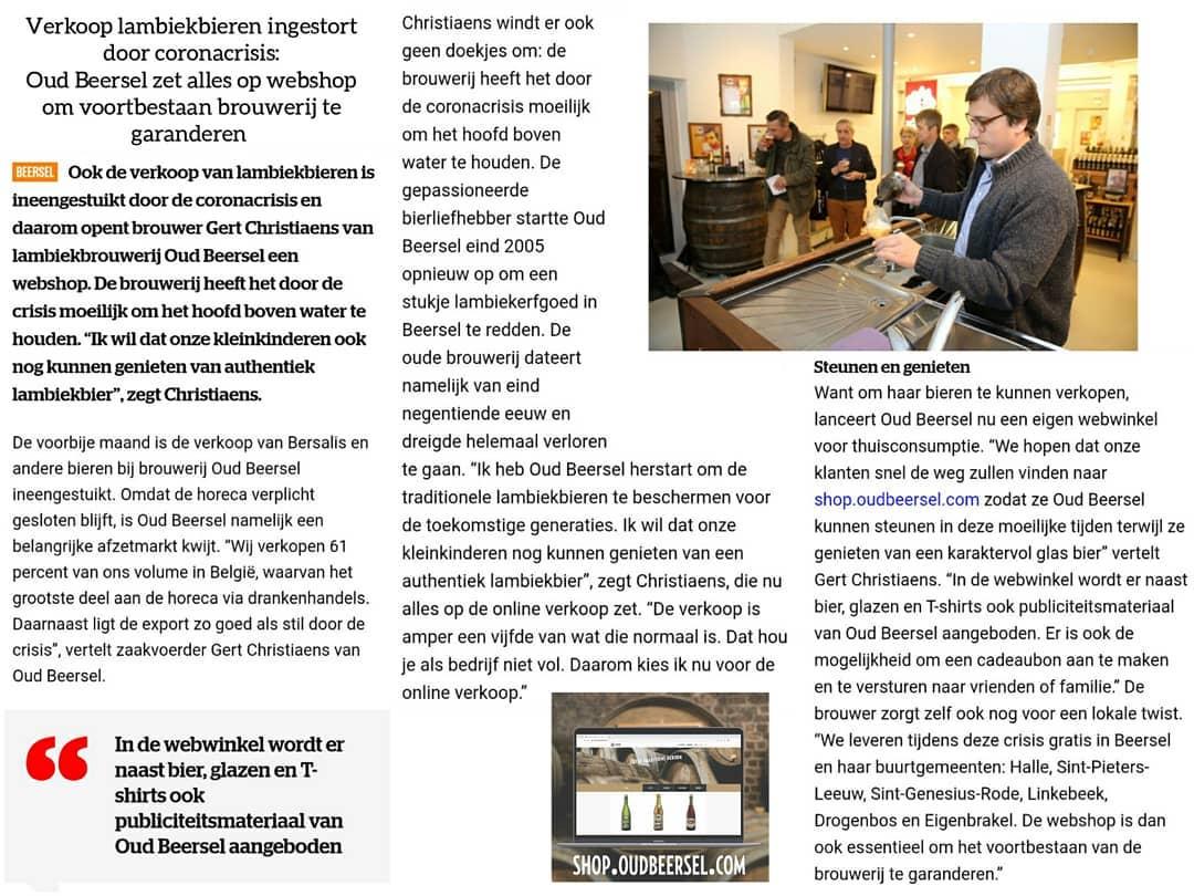 Artikel uit krant 'Het Laatste Nieuws'.